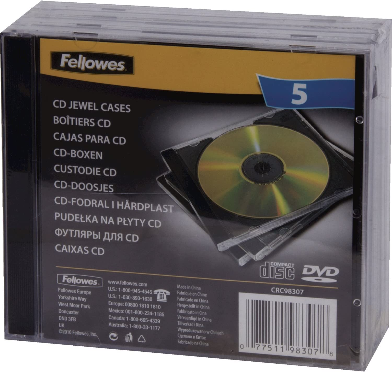 Fellowes 98307 - Pack de 5 Cajas Estuche Dobles para 2 CDs/DVDs ...