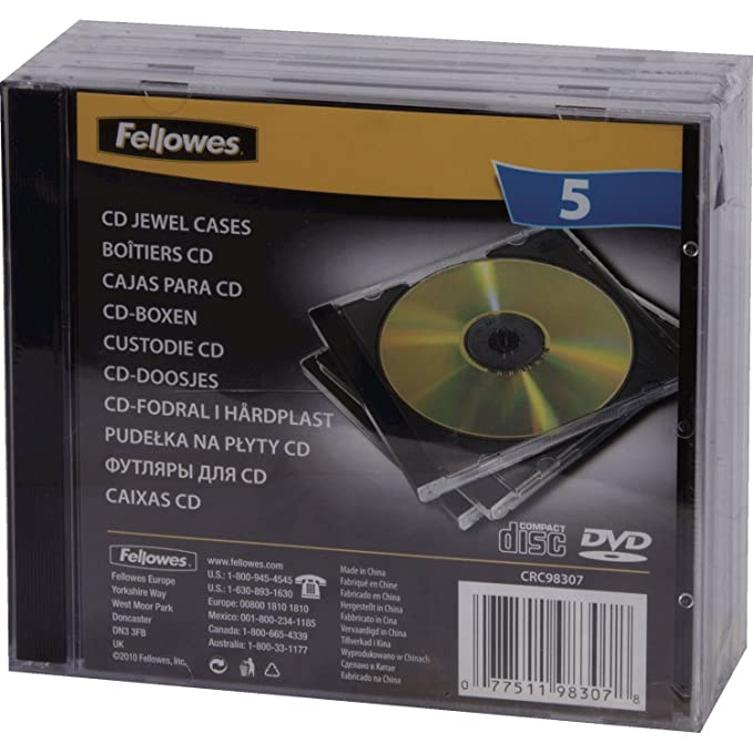 Amazon.com: Fellowes - Storage CD jewel case - capacity: 2 CD - black (pack of 5) : Computers & Accessories