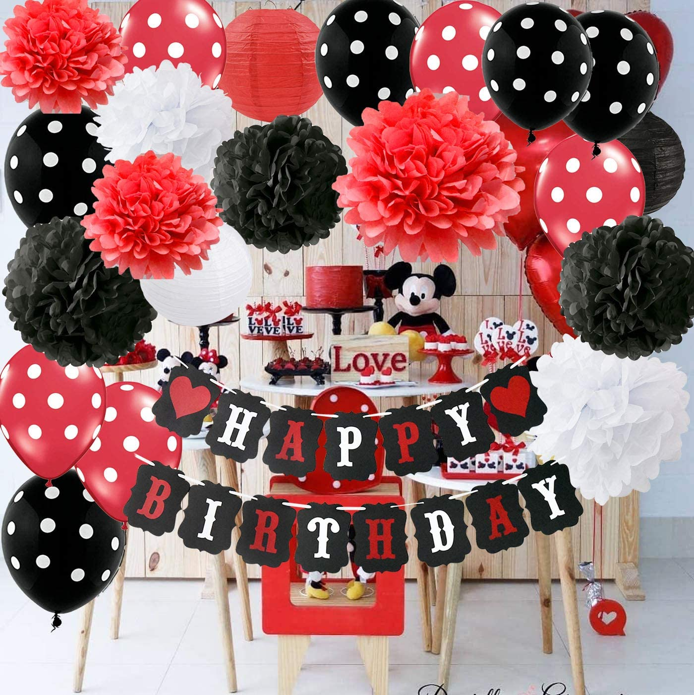 Amazon Com Red Mickey Mouse Birthday Party Decorations White Black Minnie Supplies Tissue Paper Pom Flowers Lanterns For Happy Baners Kitchen Dining