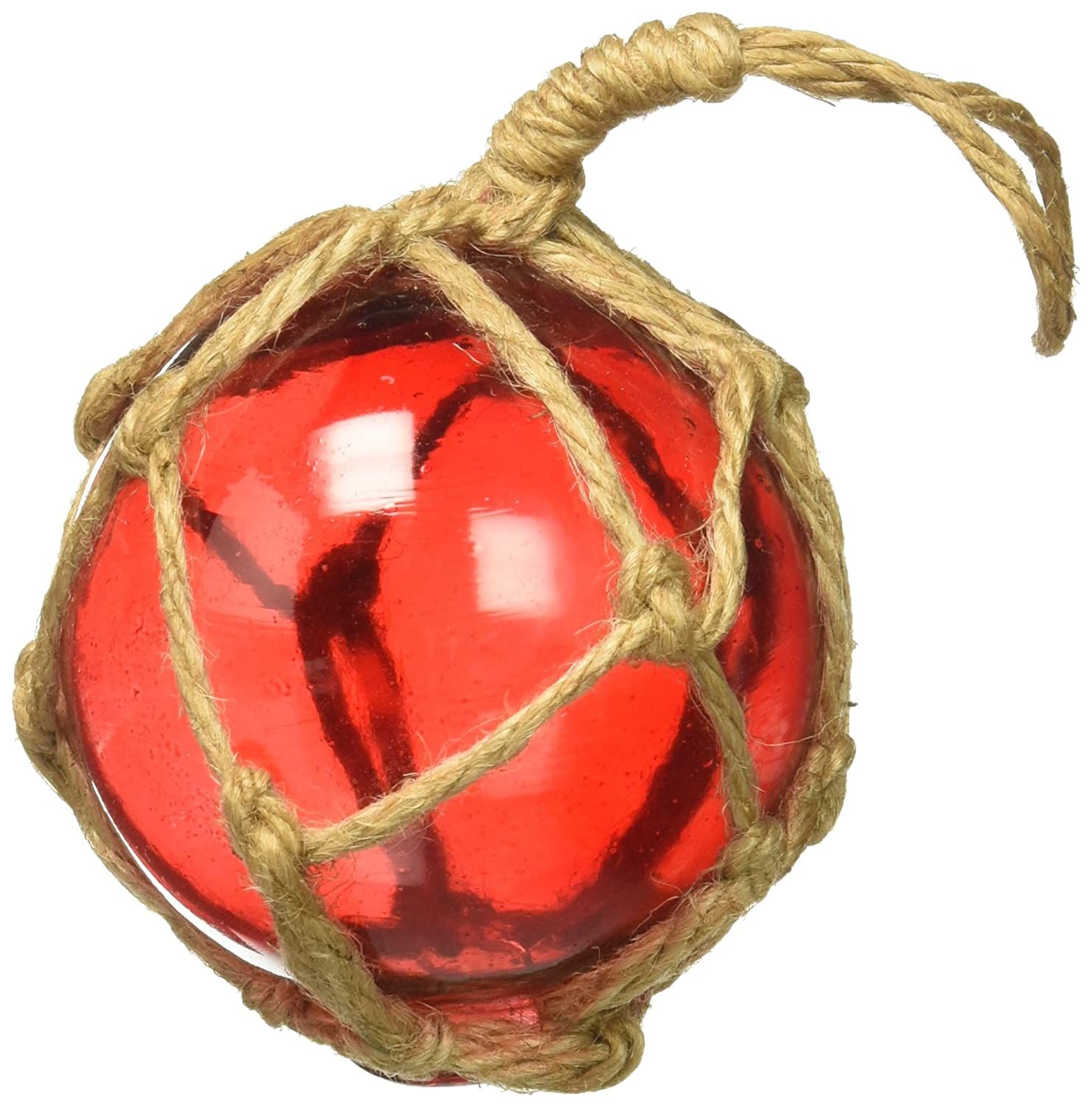 Hampton Nautical Red-Glass-3-Old-X Red Japanese Glass Ball Fishing Float with Brown Netting Ornament 3-Christmas Decor 3