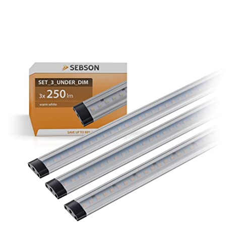 SEBSON® 3x LED sottopensile luce calda, dimmerabile, 30cm, Touch ...