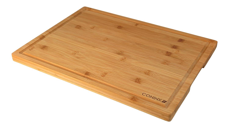 Tabla de Cortar Extragrande de Bambú - 40 x 30x 2 cm - Tabla de Cortar con Surco Coninx de Resistente Madera de Bambú Coninx ®