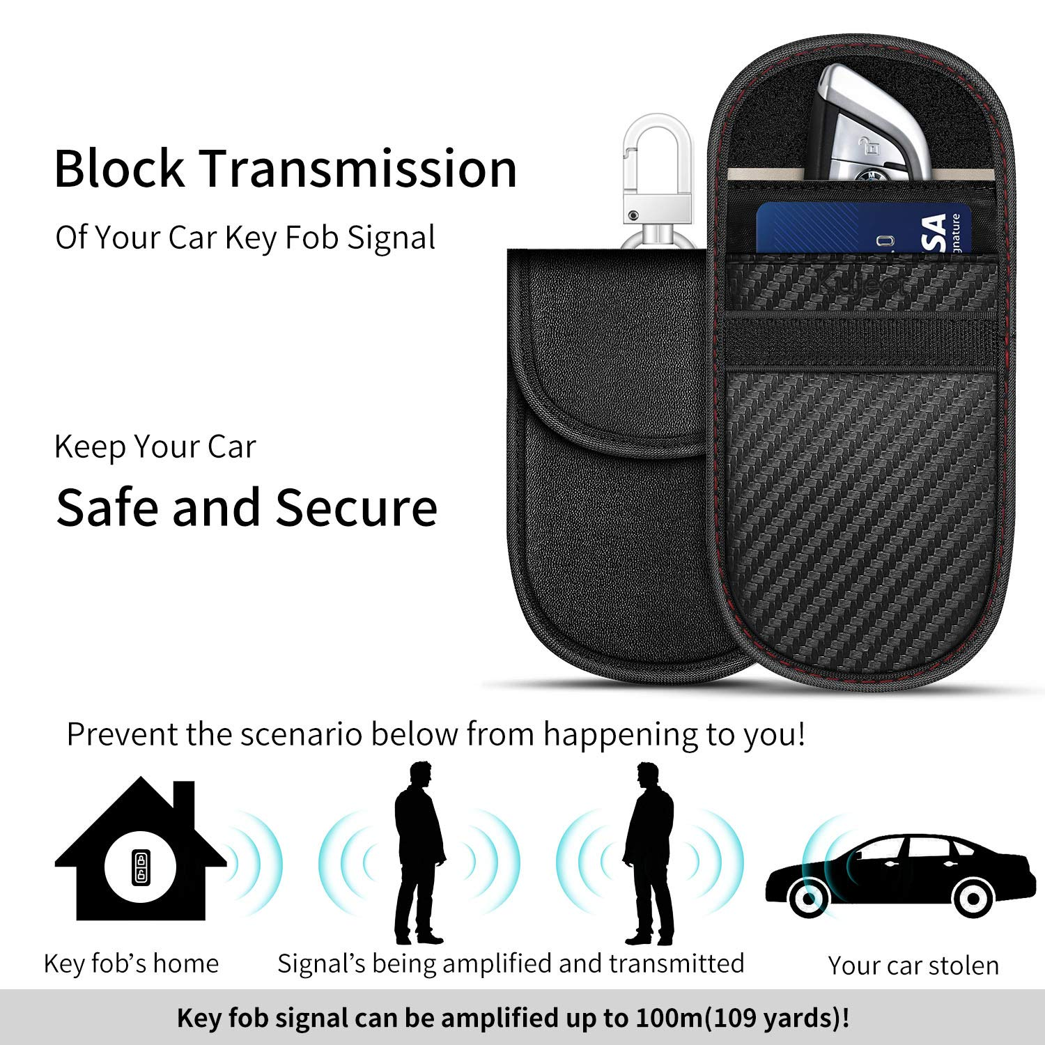 2 Different Pack Faraday Cage Car Key Anti Theft Signal Blocker Case Kuject RFID Signal Blocking Pouch Faraday Key Fob Protector Bags