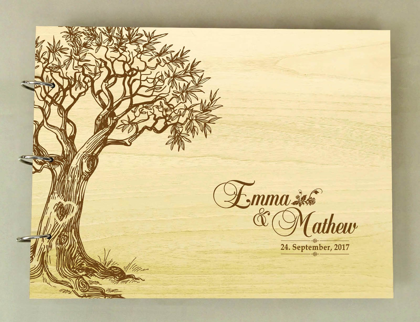 Handmade Tree Design Personalized Guest Book Rustic Wedding Wood Wooden Engraved Advice Book
