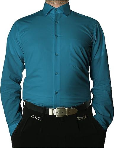 Camisa de manga larga sin arrugas con cuello clásico para hombre, varios colores disponibles: Amazon.es: Ropa y accesorios