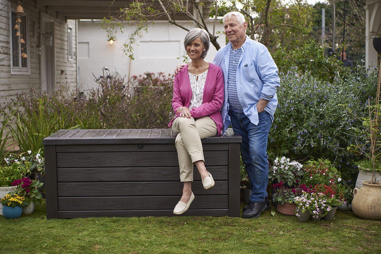 Brown Keter Westwood Plastic Deck Storage Container Box Outdoor Patio Garden Furniture 150 Gal