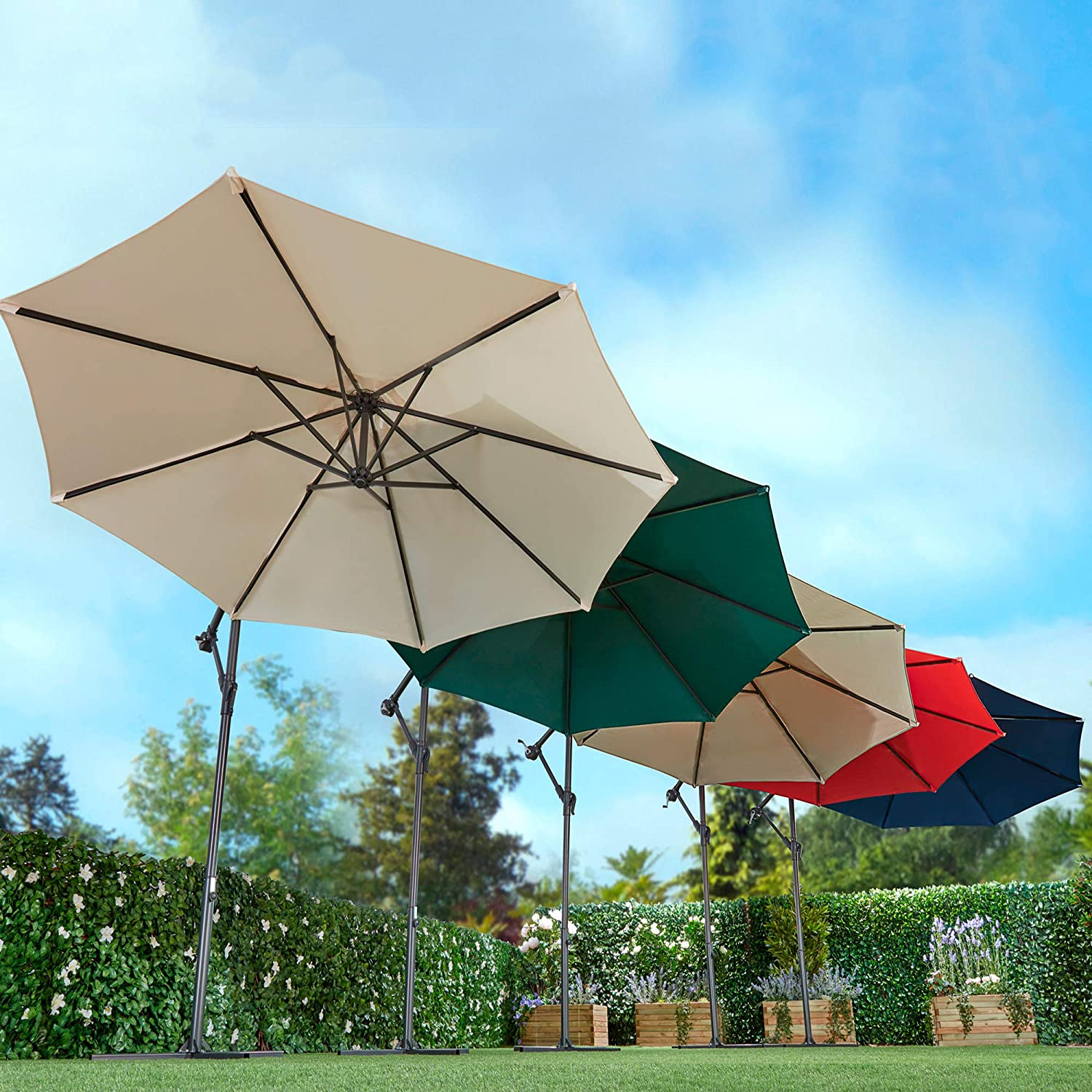 Red Umbrella Canopy Outdoor Sun Shade CLIFFORD JAMES Cantilever Parasol with Cover