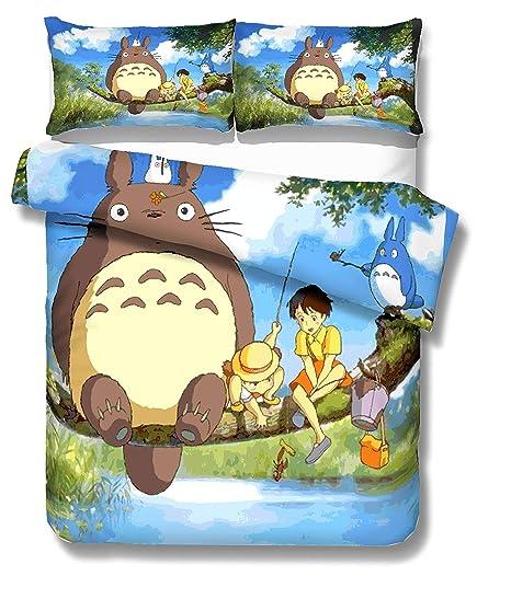 Lenzuola Matrimoniali Giapponesi.Earendel Set Biancheria Letto Cartone Animato Totoro Copripiumino