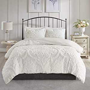 Madison Park Tufted Chenille 100% Cotton Duvet Modern Luxe All Season Comforter Cover Bed Set with Matching Shams, King/Cal King(104