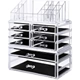 SONGMICS Makeup Organizer 8 Drawers Cosmetic Storage 3 Pieces Set Jewelry Display Case with 16 Top Compartments Clear UJMU08T