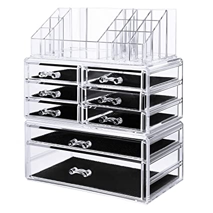 Amazoncom SONGMICS Acrylic Makeup Organizer 3 Pieces Set Cosmetic
