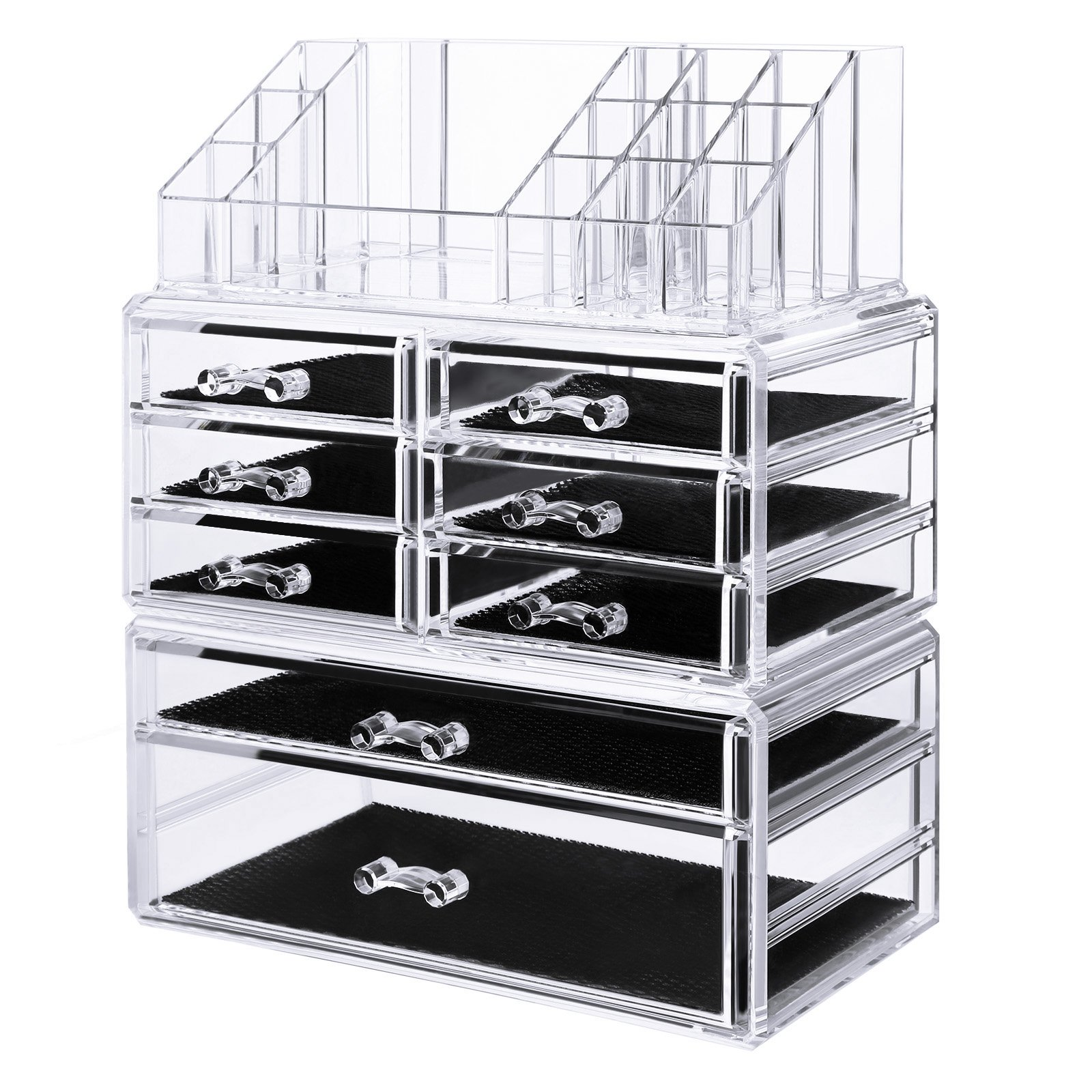 SONGMICS Acrylic Makeup Organizer 3 Pieces Set Cosmetic Storage Jewelry Display Case with 8 Drawers 16 Top Compartments for Brushes Pallets Powder Foundations Clear UJMU08T