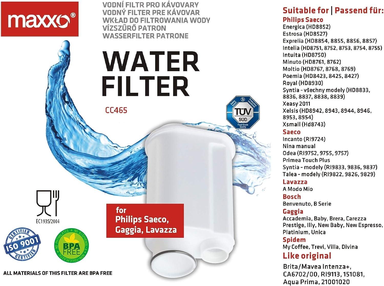 Paquete de 3 Maxxo CC002 filtros de Agua 3 compatibles con m/áquinas de Espresso DeLonghi como Cartuchos Originales SER3017 // DLSC002 Coffee Filters para cafetera Delonghi