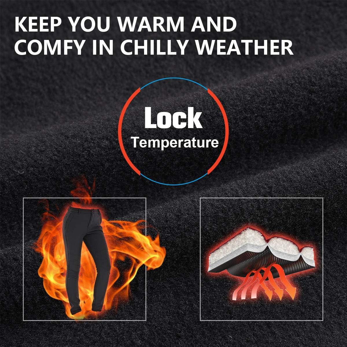 30 Ski Pants Women Waterproof Snow Winter Insulated Warm Outdoor Fleece Lined Hiking Pants with Zipper Pockets 2166 Grey