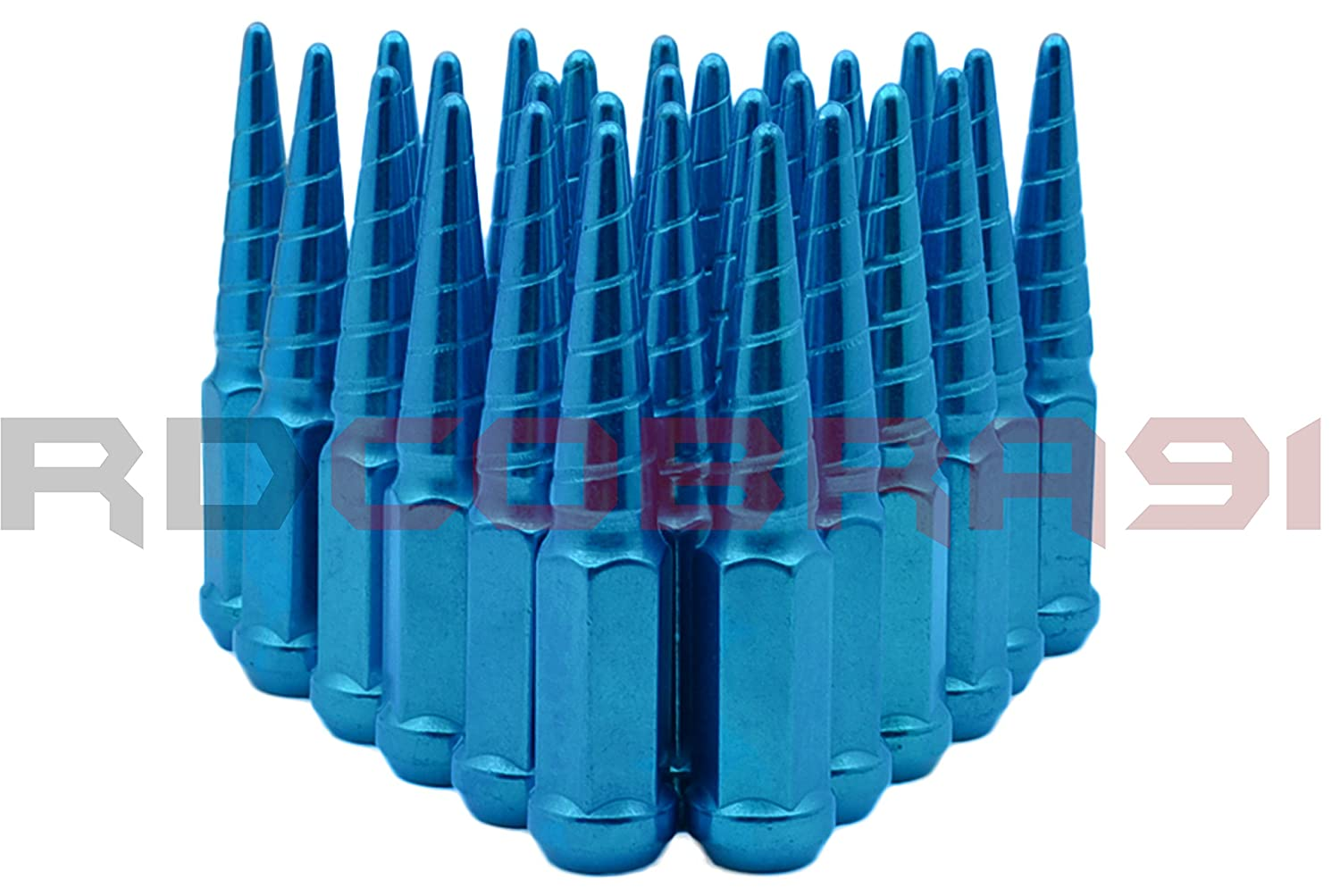 RdCobra91 32pc Twisted Metal Blue Spike Lug Nuts1 Piece Construction M14x1.5 Fits 1999-2016 8 Lug Ford 8x170 F-250 /& F-350 Supert Duty Crew Cab All Models