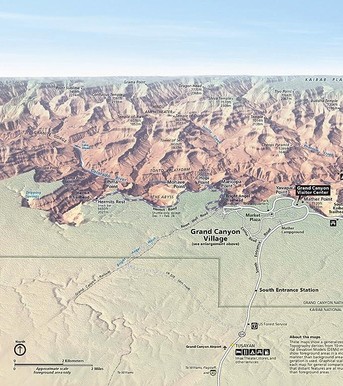 Grand canyon map amazon amazoncom wall map of grand canyon national park south rim 16 sciox Choice Image