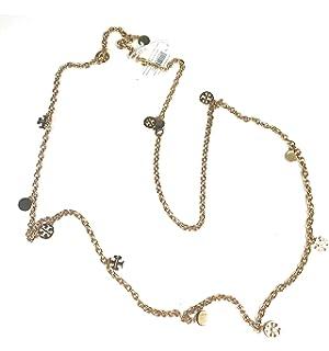 dd8f4187fae Tory Burch Gold Tone Logo Charm Rosary Necklace