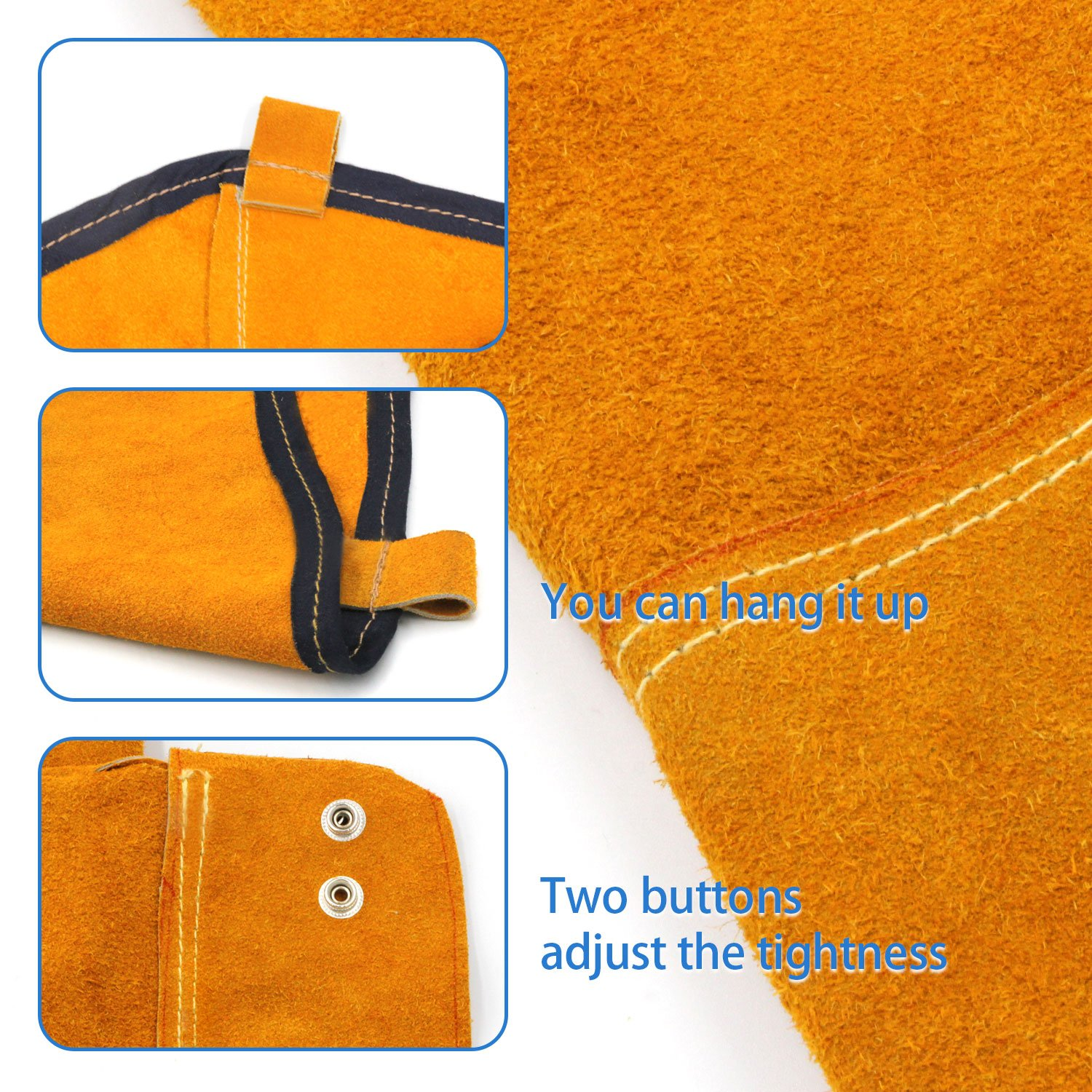 Heat Resistant Welding Sleeves,Leather Sleeves for welding, Button closure,Spark Resistant Protection,1 Pair (yellow) by Handook (Image #2)
