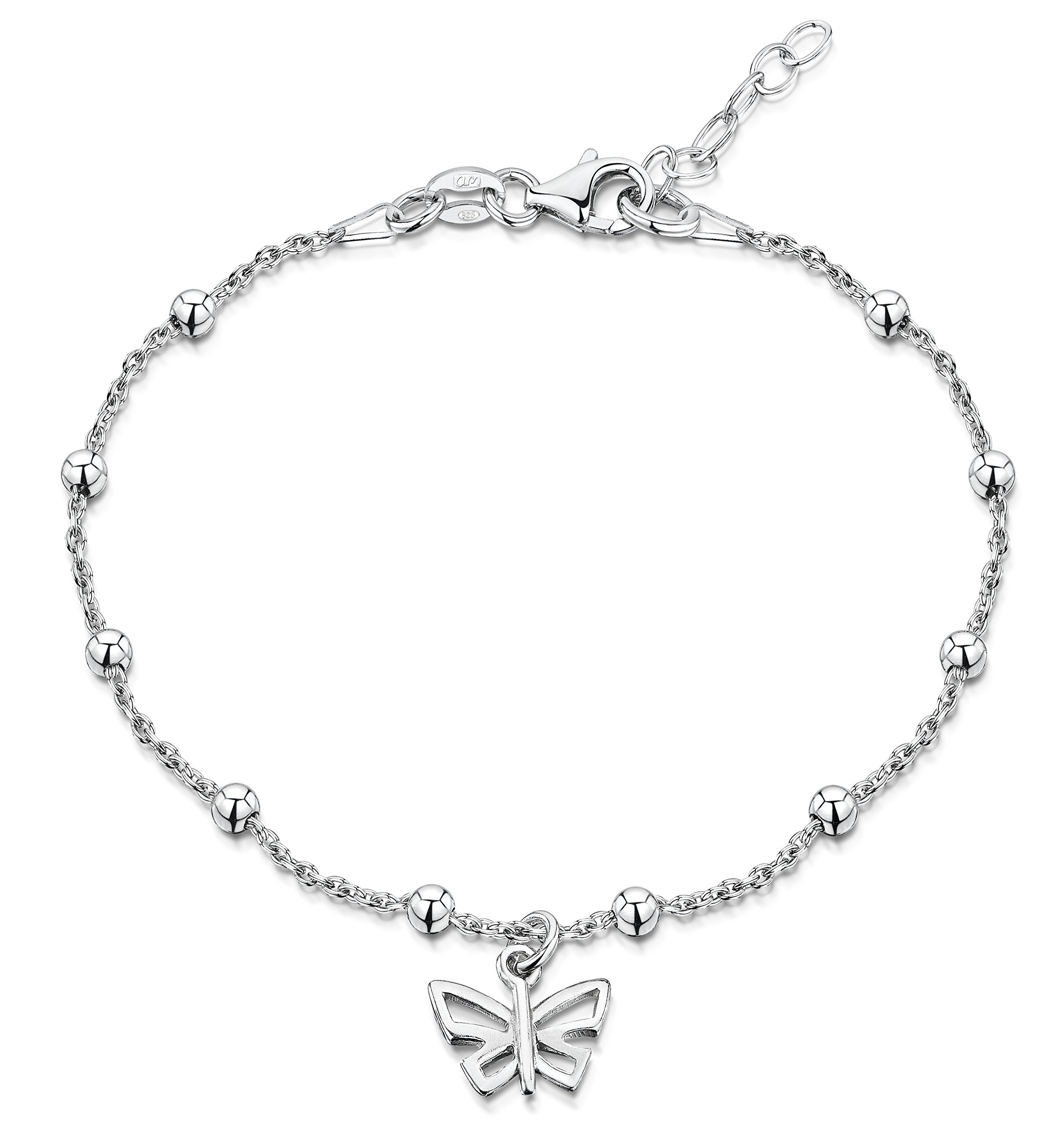 Amberta 925 Sterling Silver Adjustable Ankle Bracelet - 1.4 mm Beaded Trace Chain Anklet With Butterfly Tag - 9'' to 10'' inch - Flexible Fit
