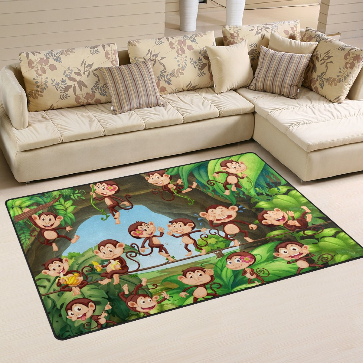 WellLee Animal Area Rug,Monkeys Family Forest Floor Rug Non-slip Doormat for Living Dining Dorm Room Bedroom Decor 60x39 Inch
