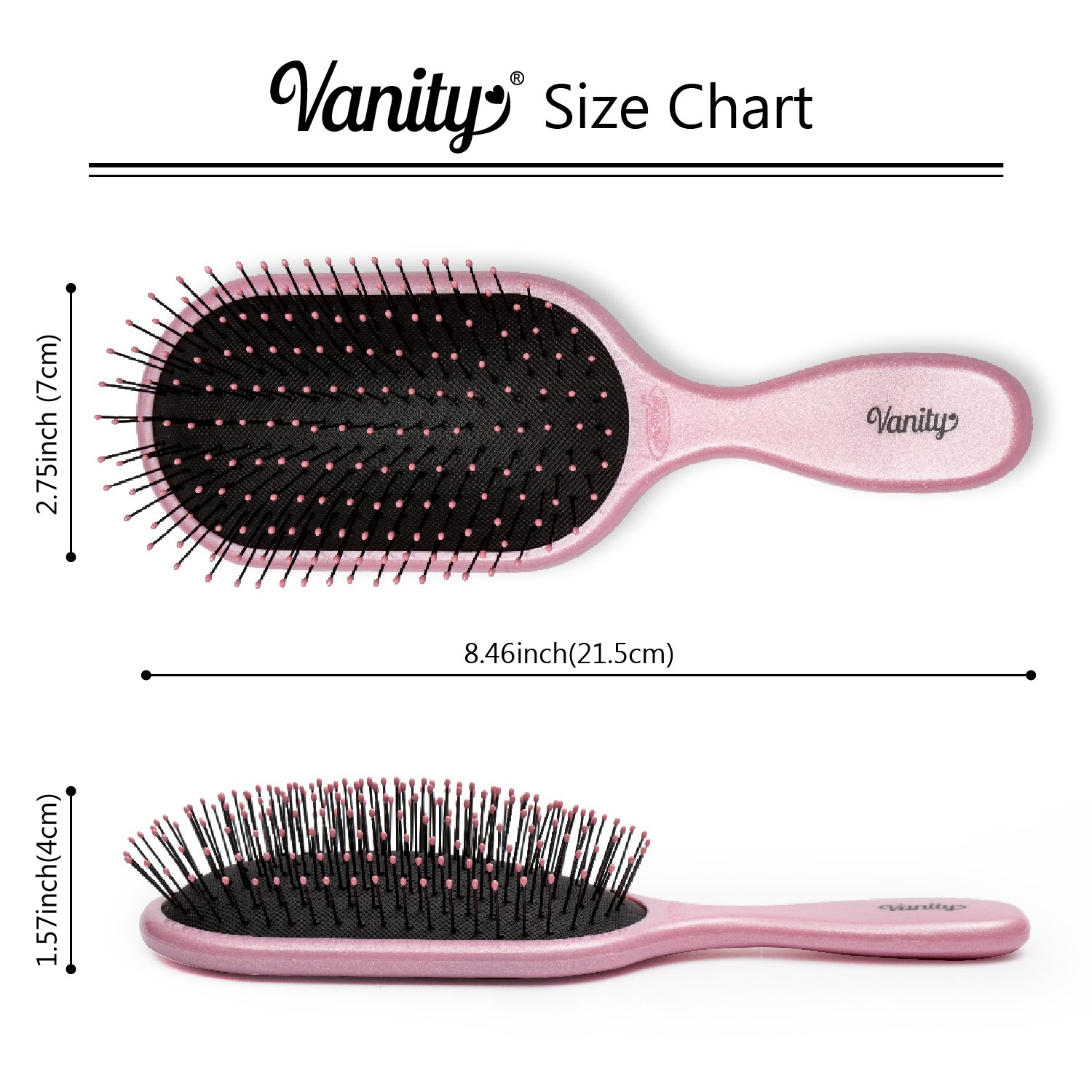 NuWay 4Hair 2-4-1 PRICE! Traveler with FREE Vanity! Best Patented Professional Detangling Travel and Paddle Brushes - For Wet Dry Thin Fine Thick Curly or Straight Hair - For Adults & Kids (Pink) by NuWay 4Hair (Image #4)