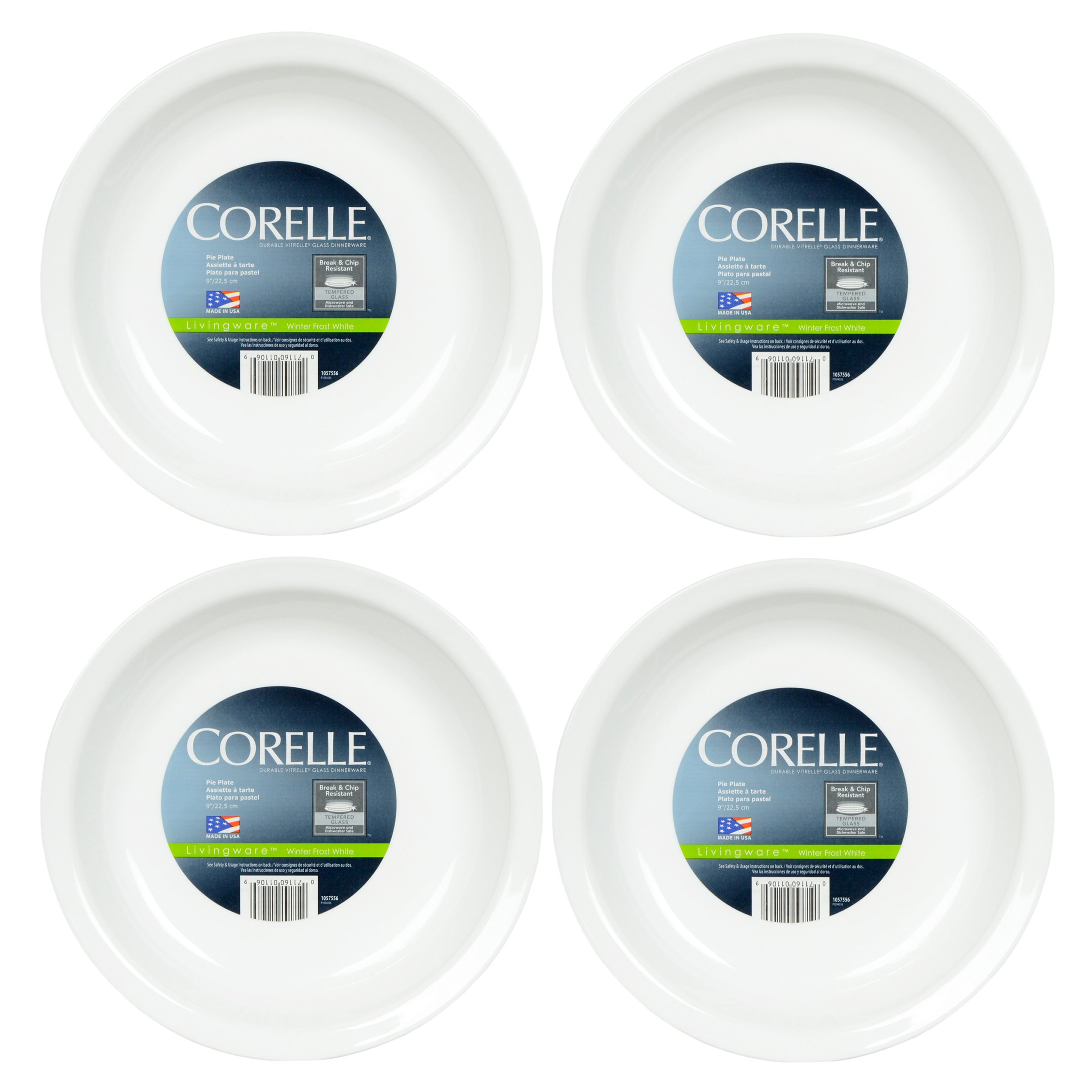 Corelle Livingware 9-Inch Deep Dish Pie Plate, Winter Frost White - 4 Pack by Corelle