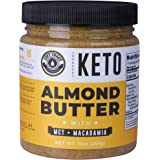 Keto Almond Butter with MCT Oil and Macadamia Nuts. No Sugar Added, Low Carb Nut Butter 10oz   Perfect Fat Bomb for the Ketog