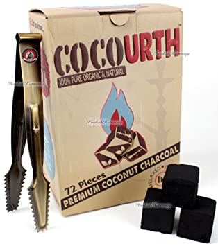 cocourth orgánico Natural Coco carbón para cachimba 72 cubitos Extra grandes piezas soporte de 1 kg
