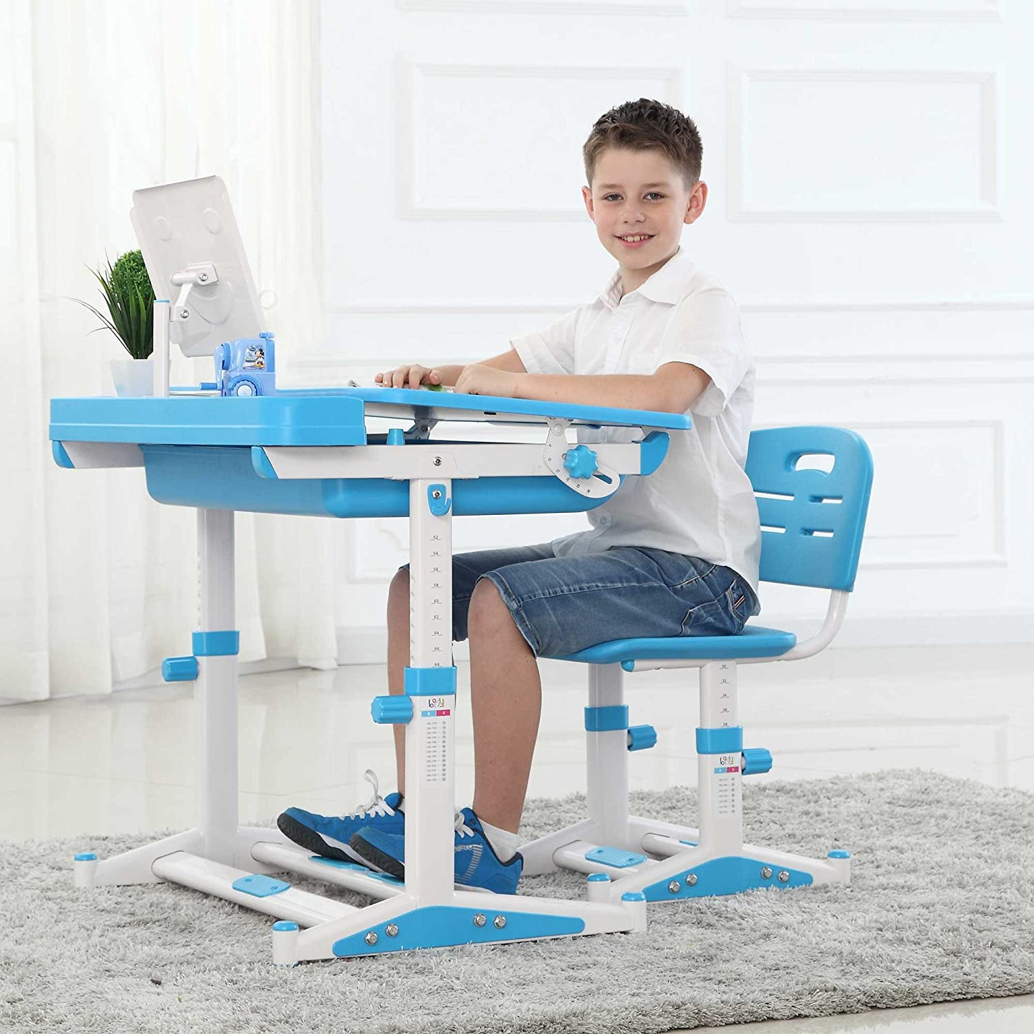 Ergonomic Kids Desk Chair with FREE Steel Bookstand FREE Brown Tiger Seat  Pad Height Adjustable Childrens Desk Chair Kids Table Chair - Sprite Blue  (Lamp ... - Ergonomic Kids Desk Chair With FREE Steel Bookstand FREE Brown