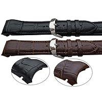 22mm curvo fine opaco effetto coccodrillo in pelle nero & marrone orologio da polso Band Fits T035407A T035428A T035410A & altri