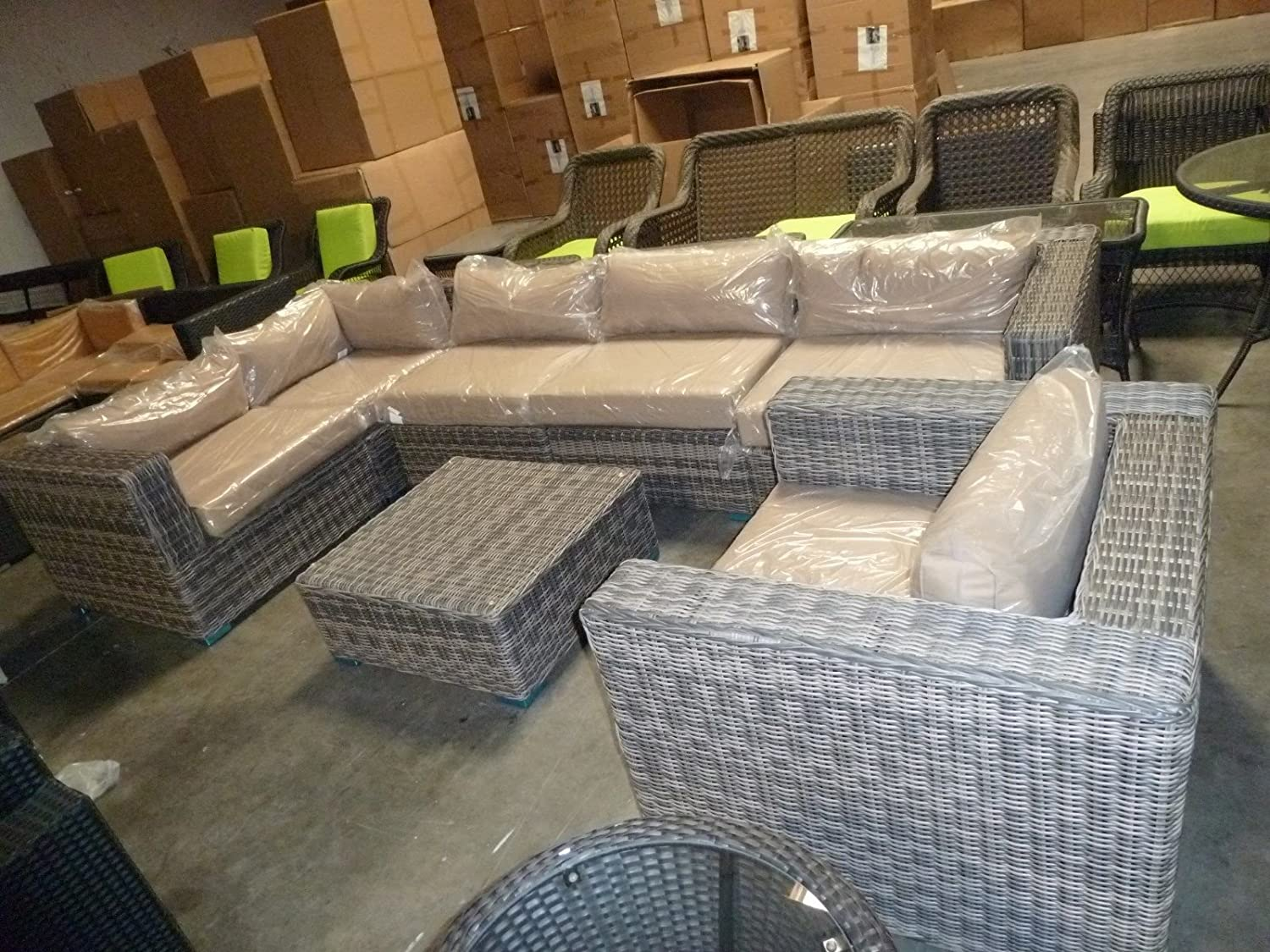 Amazon distressed outdoor wicker sectional sofa chair coffee amazon distressed outdoor wicker sectional sofa chair coffee table patio furniture set garden outdoor geotapseo Image collections