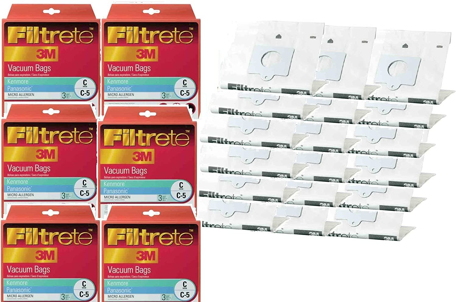 Kenmore 18 3M Filtrete Style C, Style Q 5055 20-50557 Progressive, Intuition Canister Vacuum Bags 68700A-6, 18 Bulk Buy