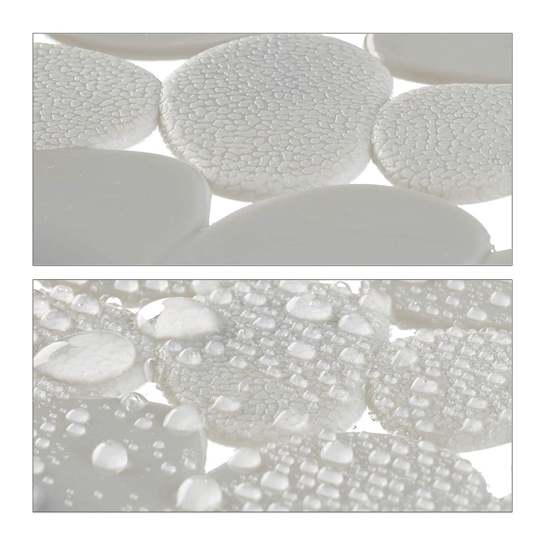 LxP: 66,5 x 34,5 cm Relaxdays 10021751/_49 Tappeto Antiscivolo per Vasca da Bagno con Ventose Bianco