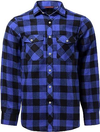 J.VER Hombre Camisas Casual Franela Ajuste Regular Algodón ...