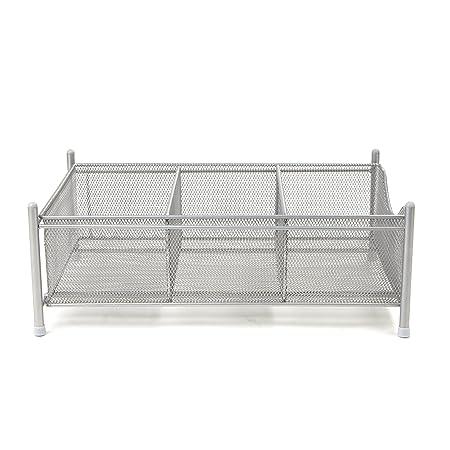 Mind Reader 3 Compartment Metal Mesh Storage Baskets Organizer, Home, Office, Kitchen, Bathroom, Silver by Mind Reader