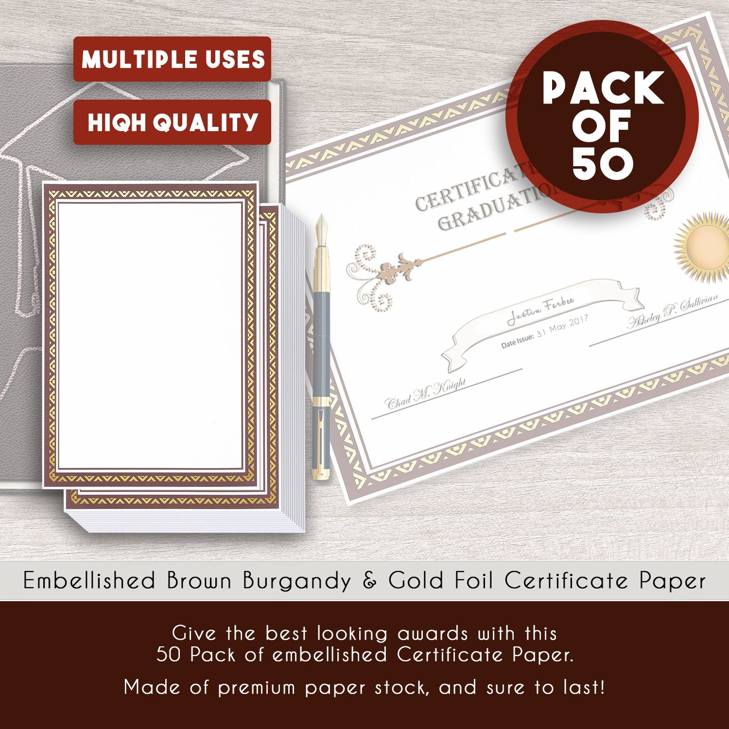 Amazon 50 Pack Award Certificate Paper Embellished Brown