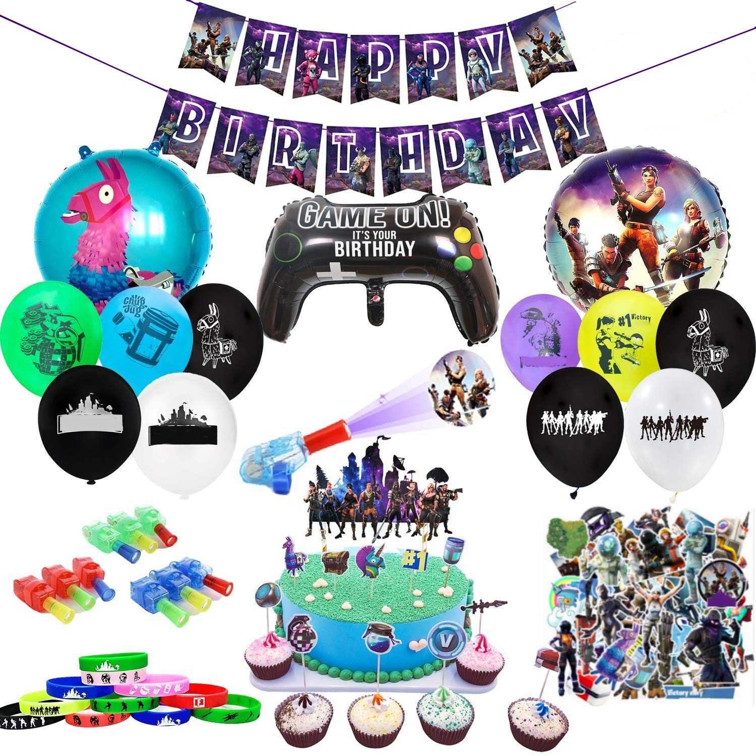 Birthday Party Supplies for Game Fans, 110pcs Gaming Theme Party Decorations - include Balloons, Banner,Bracelets,Finger Lights,Stickers,Cake Toppers, Cupcake Toppers