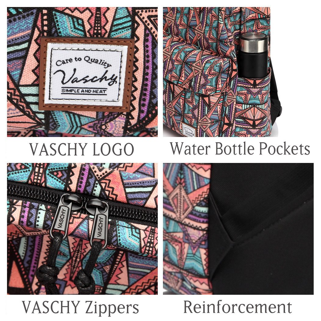 School Backpack for Teen Girls,Fashion Canvas Rucksack BookBag with Padded Laptop Sleeve by Vaschy (Image #3)