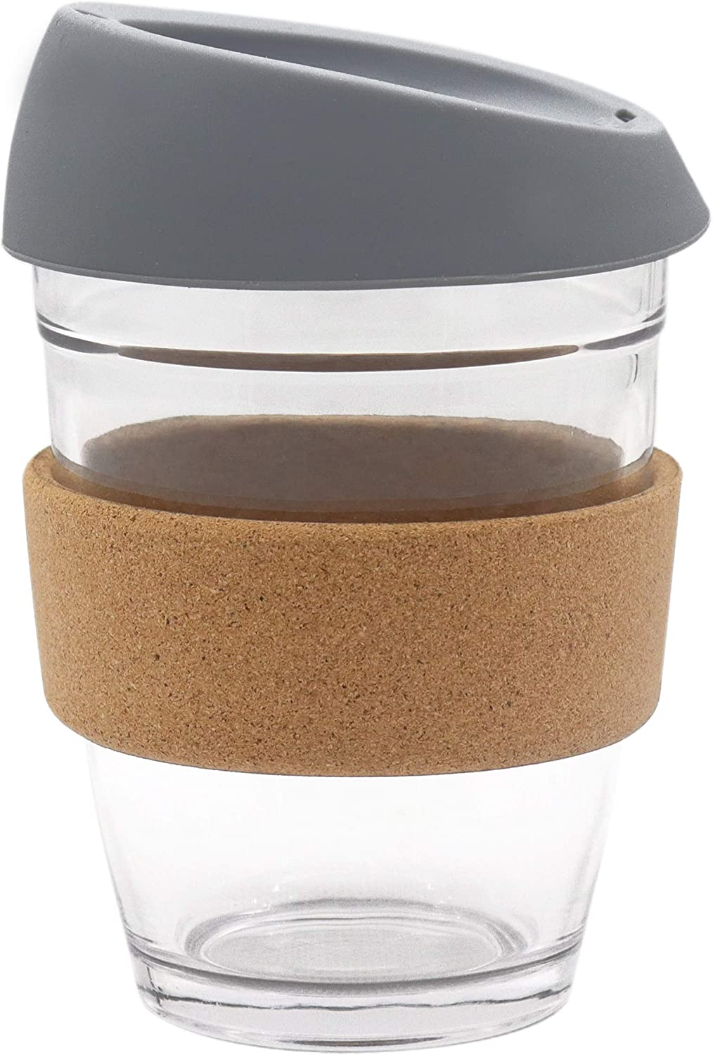 L'ifeager Reusable Coffee Travel Cup Toughened Glass Cup&Eco Friendly Cork sleeve Dishwasher and Microwave Safe BPA Free | 12oz | Christmas Birthday present (Grey)