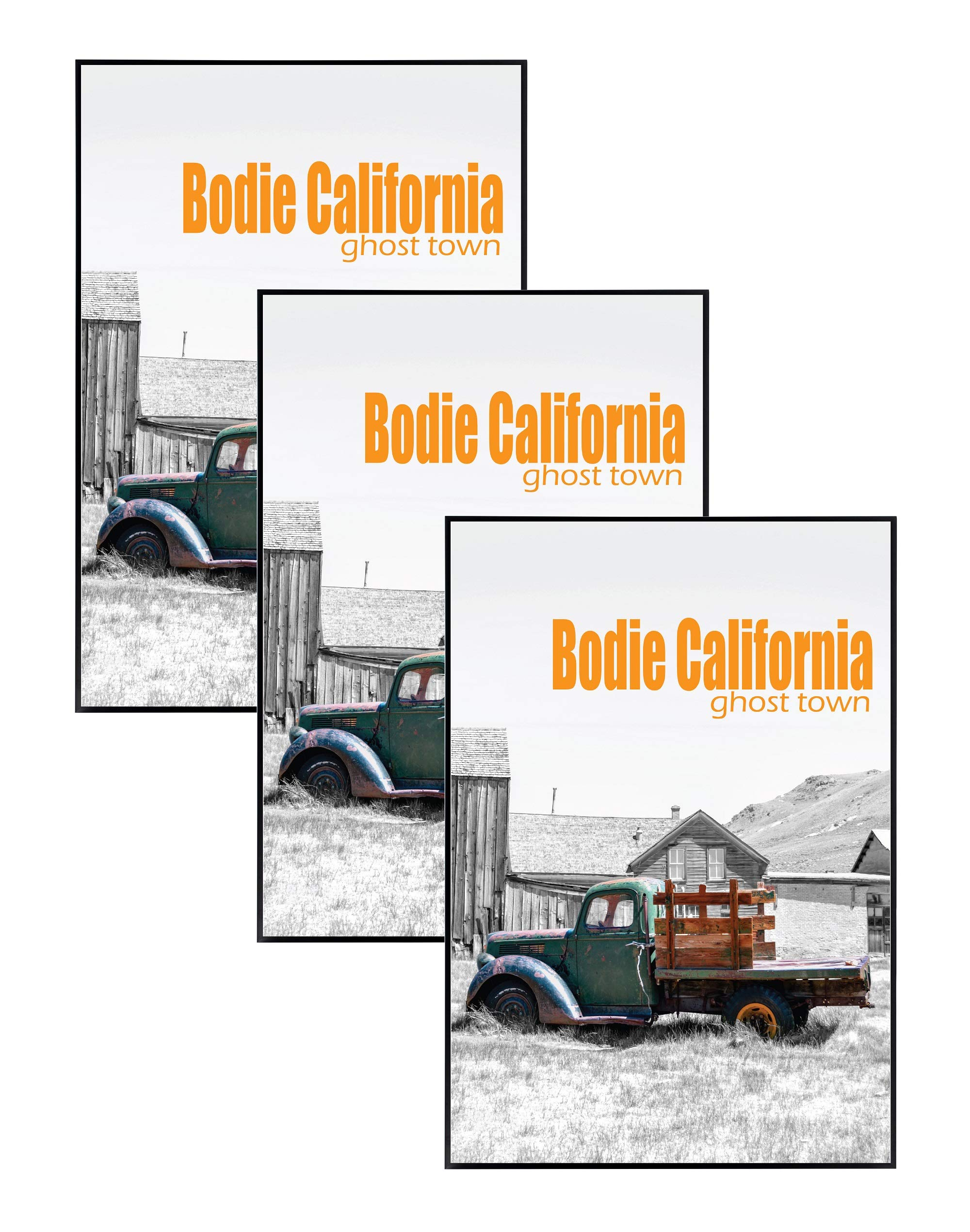 Golden State Art Set of Three, 13x19 Aluminum Black Photo Frame with Plexi-Glass - Swivel Tabs, Sawtooth Hangers, Spring Clips - Metal Wall Poster Frame Collection (3)