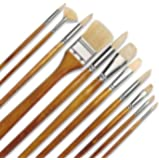 11 pcs Professional Oil & Acrylics Artist Brushes Pure Hog Bristles Lacquered Birchwood Long Handles with a Free Carrying Box
