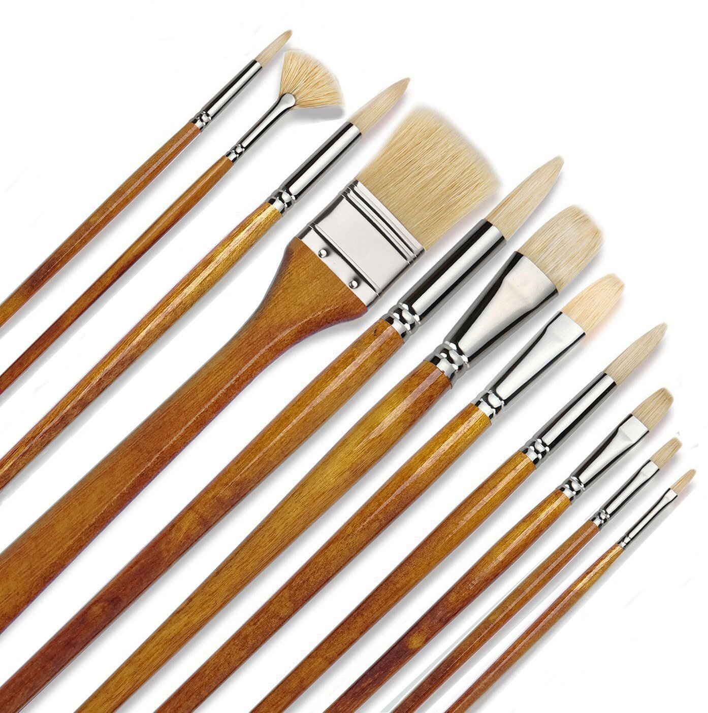 11 pcs Professional Oil & Acrylics Artist Brushes Pure Hog Bristles Lacquered Birchwood Long Handles with a Free Carrying Box Ltd