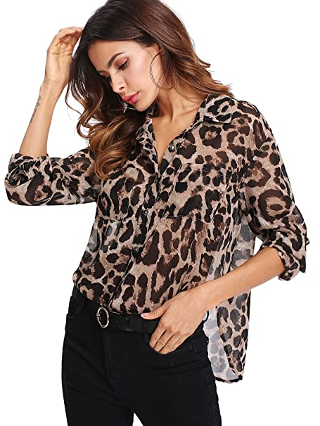 51253ad446db1 Floerns Women s Long Sleeve Button Down Sheer Leopard Print Chiffon Blouse  Brown XS