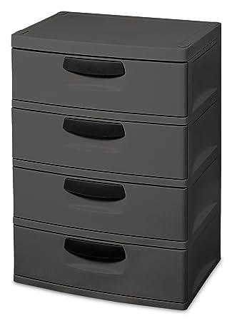 Sterilite V  Drawer Unit Flat Gray With Black Handles Drawer Interiors