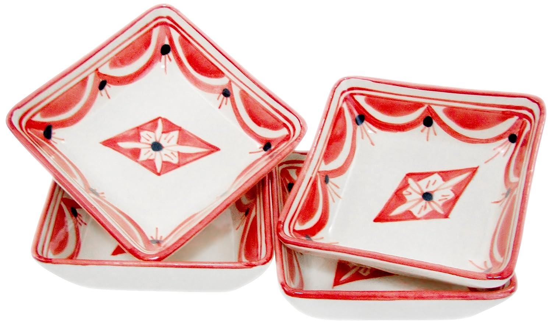 Le Souk Ceramique NJ30 Stoneware Square Sauce Dishes, Red/White, Small
