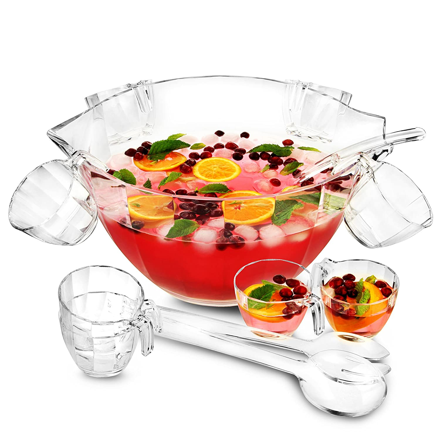 bar@drinkstuff Glacier Acrylic Punch Bowl Set - Multi Purpose Punch Bowl and Salad Bowl in One, Cocktail Bowl