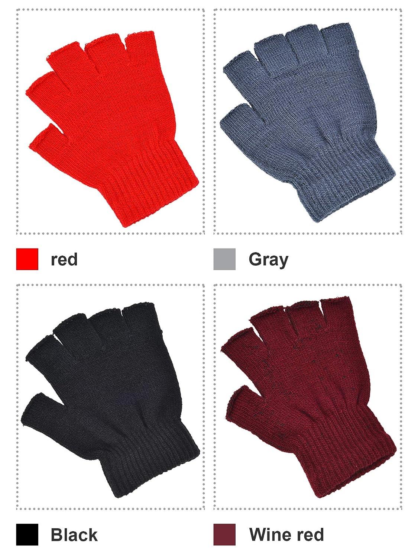 Conjunto de Colores 1 4 Pares de Guantes sin Dedos Guantes de Mitad de Dedos Guantes de Punto de Color S/ólido para Ni/ños y Ni/ñas