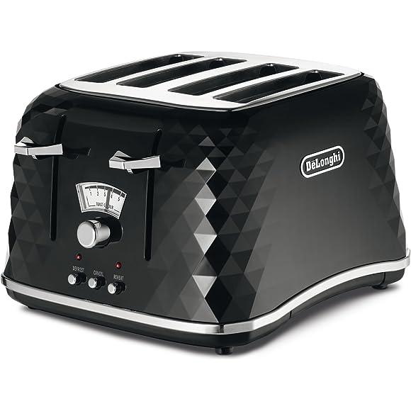 De'Longhi Brillante Faceted Black 4-Slice Toaster