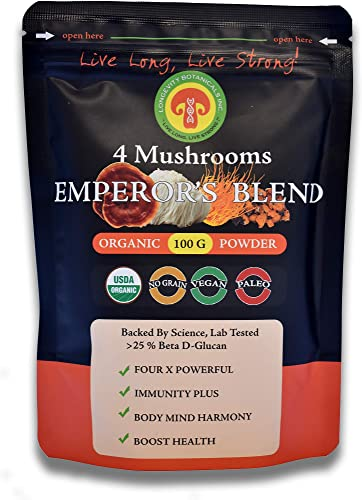 Longevity Botanicals Organic 4 Mushroom Emperor's Blend Powder Extract USDA, Lions Mane, Reishi, Chaga, Cordyceps Militaris Fruiting Body No Filler Immunity, Energy, Mental Clarity, Anti-Oxidant