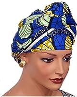 African Head Wrap Tribal Scarf Gele. Stylish Headgear Made Of Ankara Blue Fabric